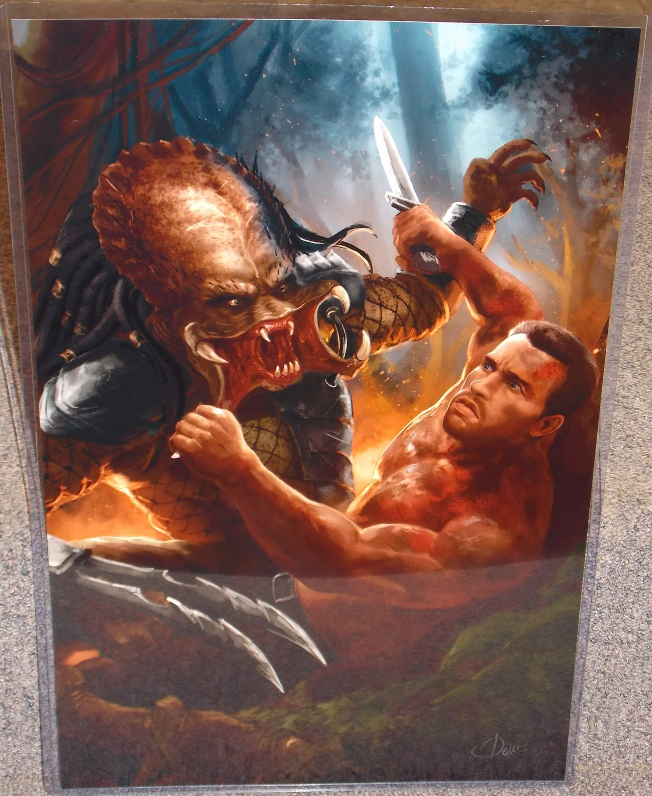 The Predator vs Dutch Glossy Print 11 x 17 In Hard Plastic Sleeve