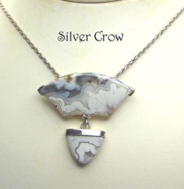 Sterling Silver Lace Agate Double Pendant Necklace - $159.99