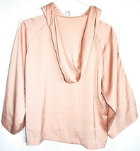 Forever 21 Contemporary Pink Hooded Satin Long Sleeve Top Hoodie Size S image 2