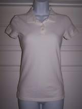 Aeropostale S/P Women's Knit Top White Short Sleeve Button Collar 95% Co... - $7.50