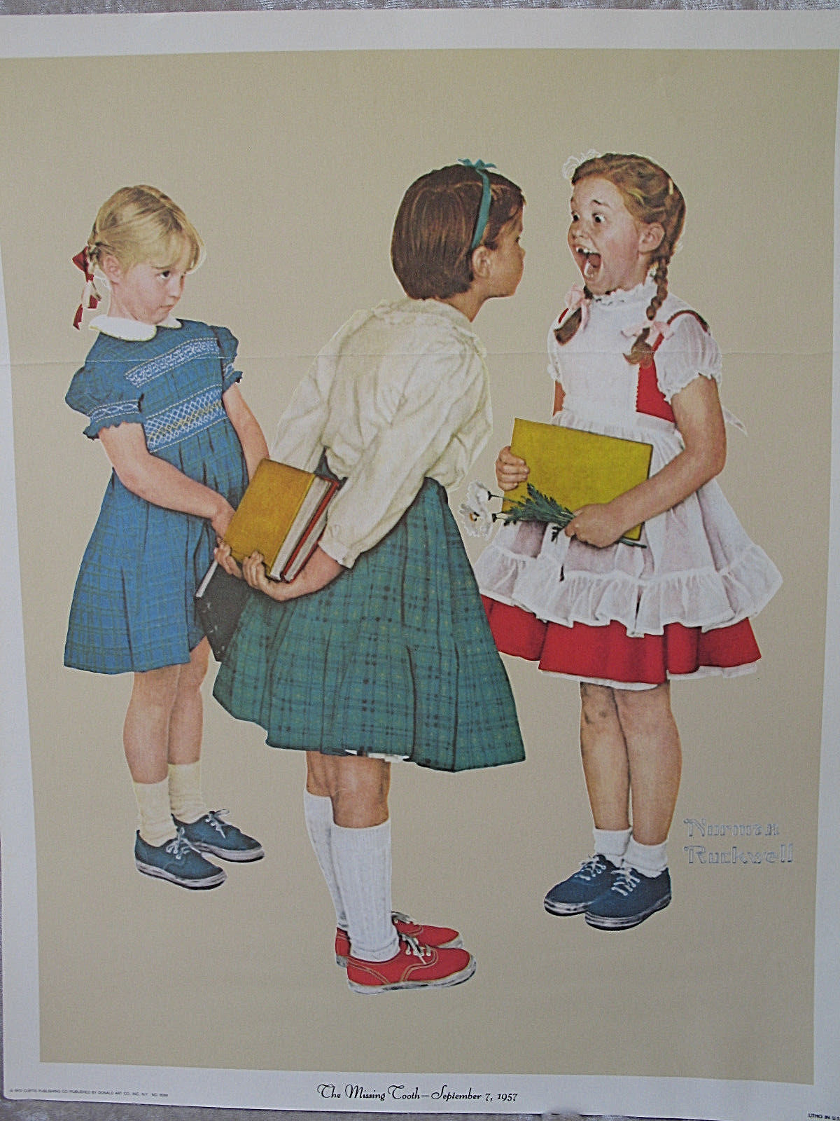 """The Missing Tooth"" Norman Rockwell Litho 1972 Poster 12 X 15 Print"