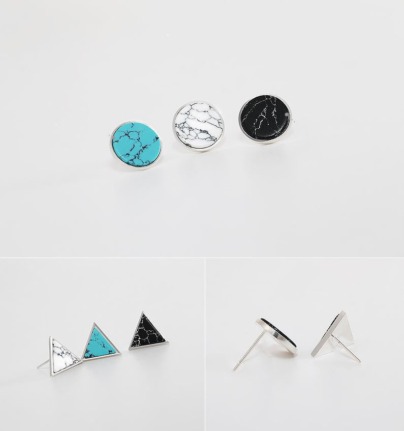 925 Sterling Silver Circle and Triangle Gemstone Stud earrings, Marble Earrings,