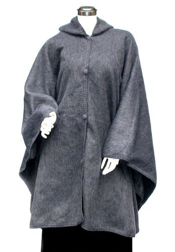 Alpaca Brushed Cape Cloak Poncho Hooded Grey