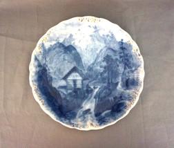 """Flow Blue Plate J & G MEAKIN England  8.5"""" Mountain Cabin Scene 1907-1912 - $124.95"""