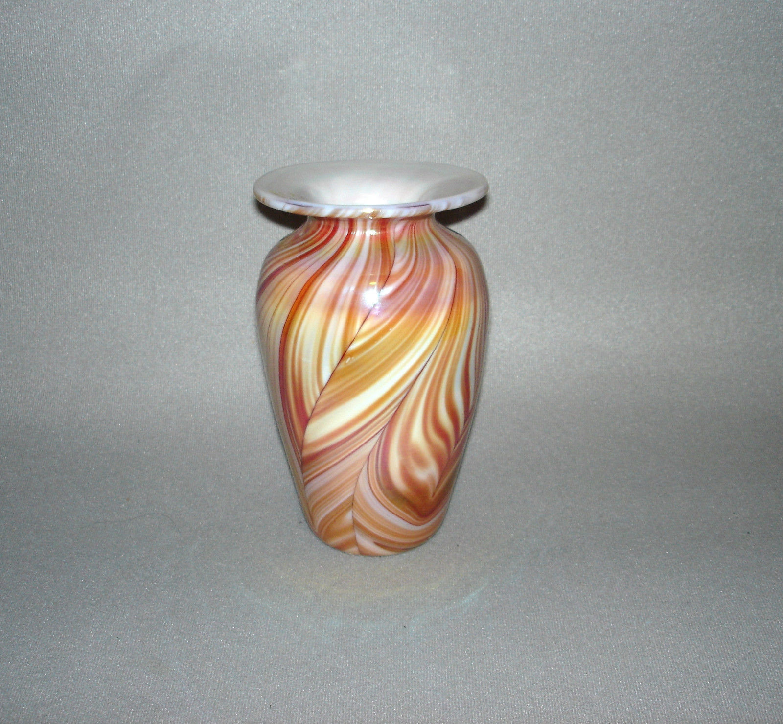 "Gibson Pulled Feather Art Glass Vase Hand Blown 7"" - $295.00"