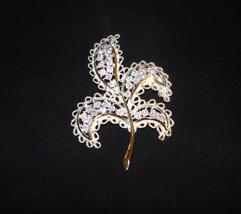 Vintage EMMONS Signed AB Crystal Leaf Brooch Pin Signed Large - $89.95