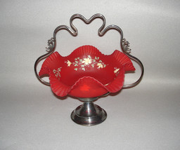 Consolidated Art Glass Red Satin Brides Basket Silverplate Frame - $695.00