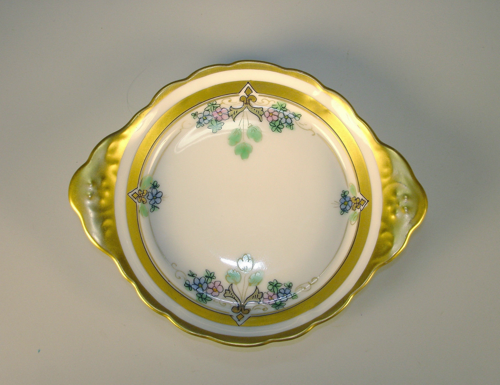 W A Pickard China Hand Painted Small Dish Gold Rim