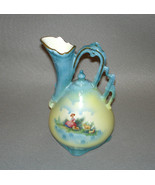 "Czechoslovakia Porcelain Ewer Pitcher 7 1/2"" Tall Woman with Sheep Scene - $249.95"