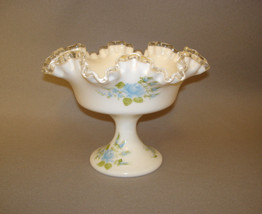 Signed Fenton Silver Crest Hand Painted Compote Blue Roses - $149.95