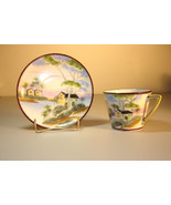 NIPPON Moriage Beaded Hand Painted Cup and Saucer - $144.95