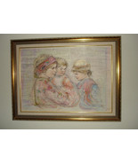 "Edna Hibel Unique Lithograph and Oil on Silk ""Serina & Children"" Signed ... - $12,950.00"