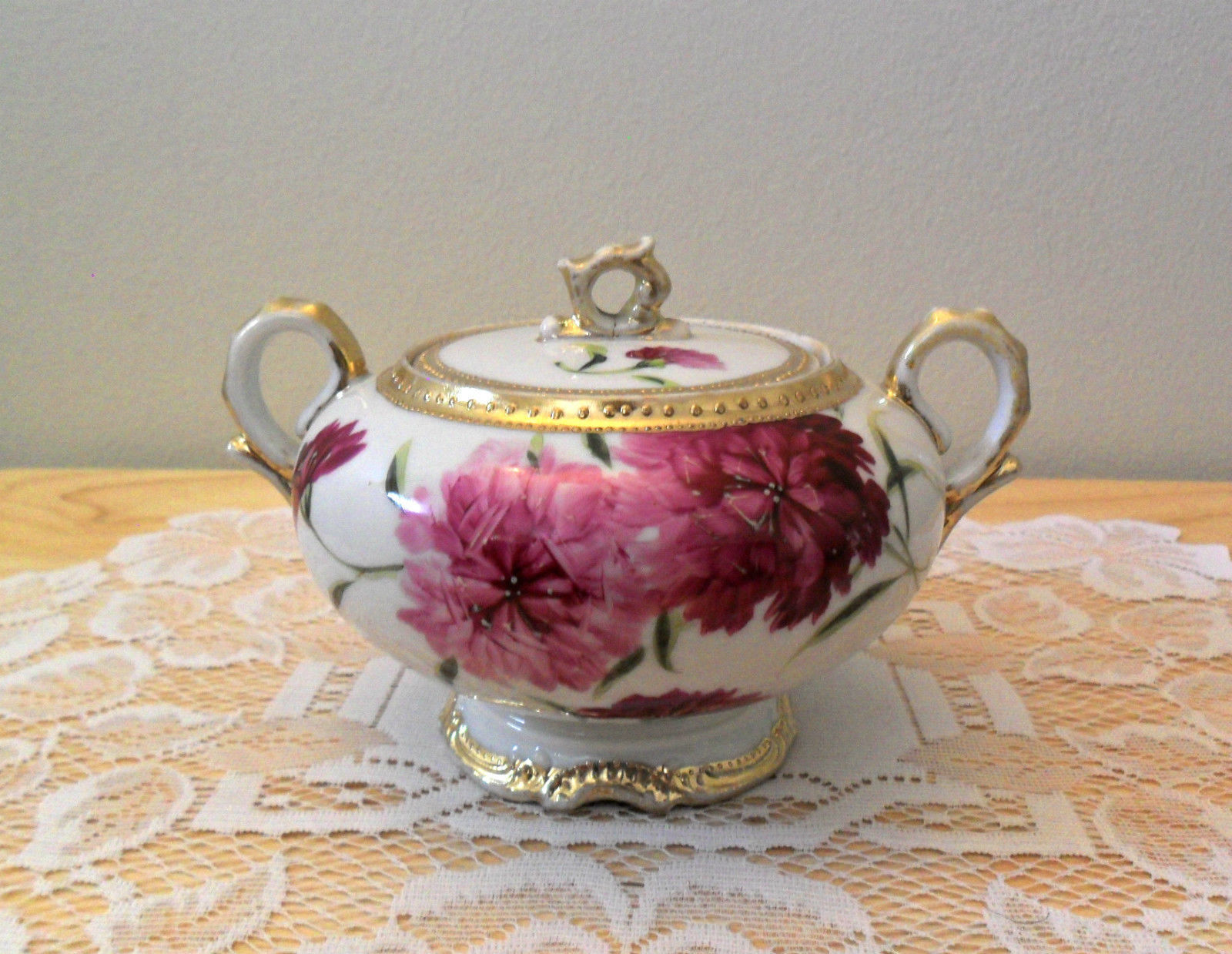Royal Kinran NIPPON Porcelain Sugar Bowl with Lid Handpainted
