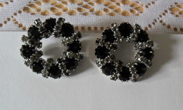 Vintage WEISS Black & Rhinestone Clip-on Earrings - $79.95