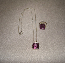 Sterling Silver Simulated Amethyst Ring Size 5 & Necklace Set Made in Italy - $159.95