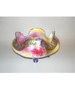 NIPPON Hand-Painted Porcelain Footed Scalloped Rose Bowl 22k Gold Trim - $375.00