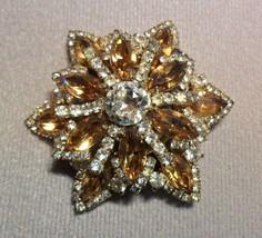 Vintage Weiss Brooch Pin Signed Amber Stones Rhinstones STUNNING - $249.95