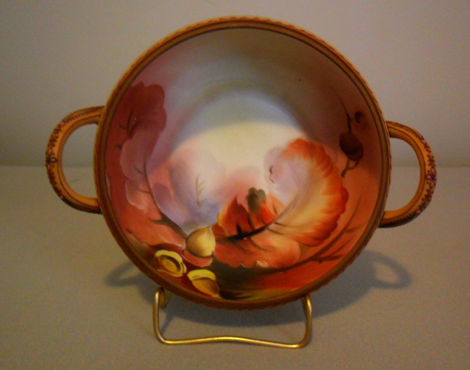 Hand Painted Gilded Nippon Bowl with Handles