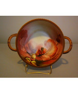 "NIPPON Bowl 9"" Two Handle Rich Hand-Painted Nut Acorn Pattern - $195.00"