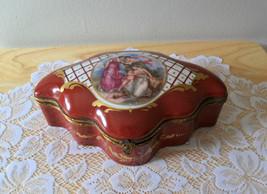 Antique Porcelain Dresser Box Handpainted Ladies Cherub - $179.95