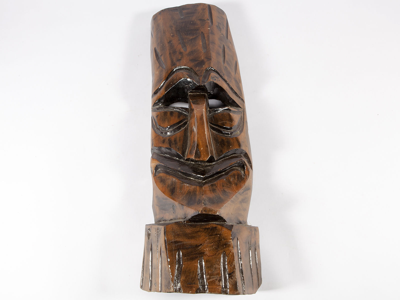 Vintage Wood Tiki Mask - Polynesian Carved Wood Sculpture - Free Shipping