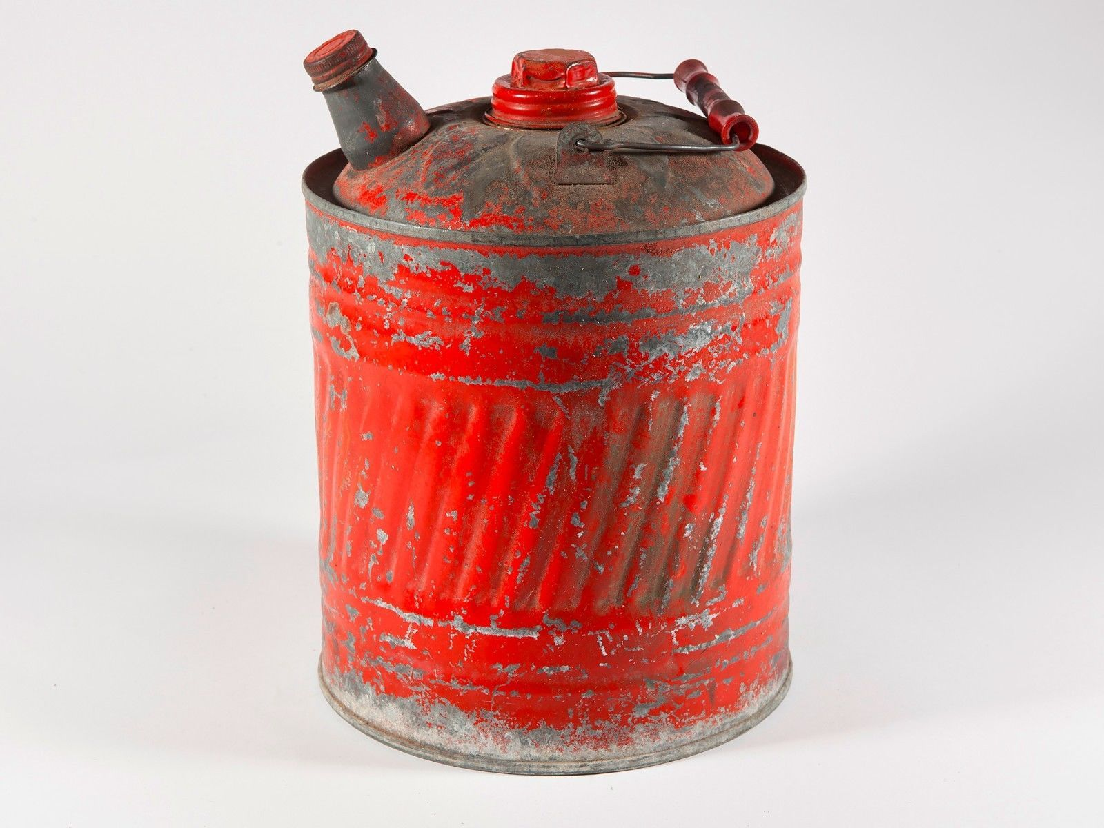 Primary image for Vintage Red Gas/Kerosene Can with Spout and Wood Handle-Good Shape-Free Ship