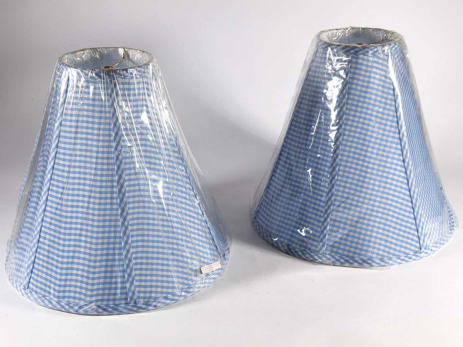 "Pair of New Blue & White Check Fabric Lampshades - 13"" bottom  -- Free Shippin"