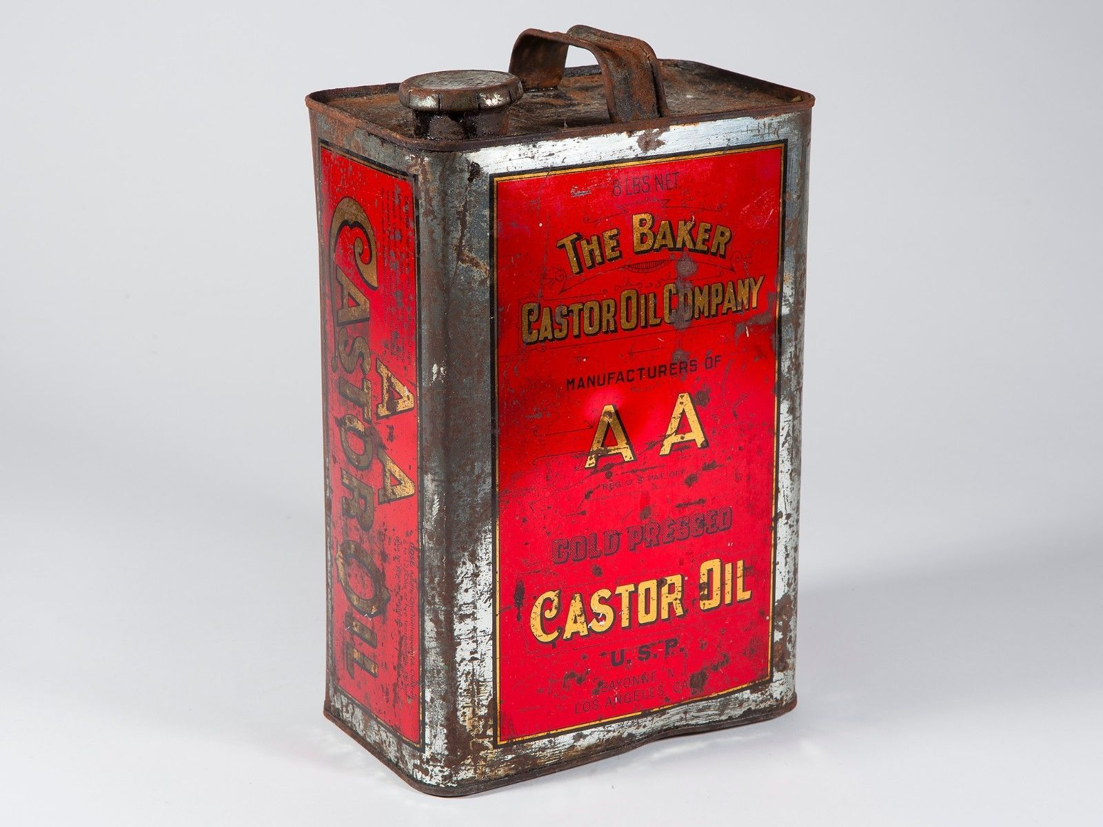 Vintage Baker Castor Oil Company AA Red Can - Free Shipping