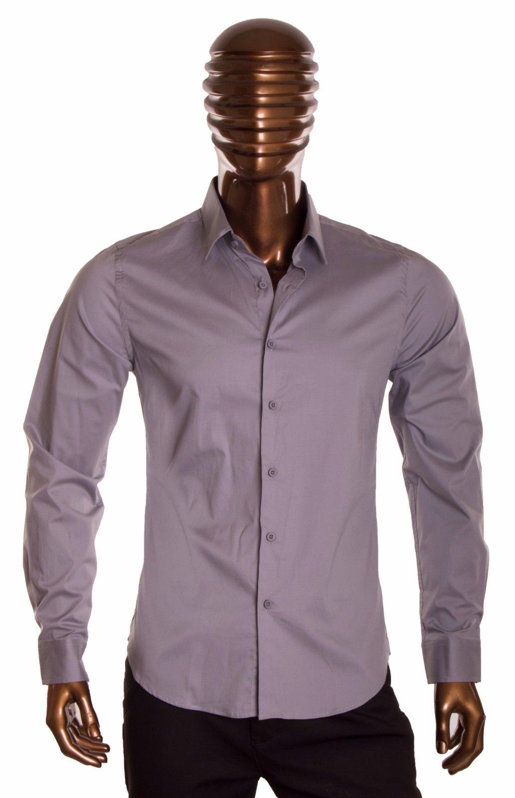 Gray long sleeve dress shirt Men's slim fit casual dress button up shirt S-2X #1