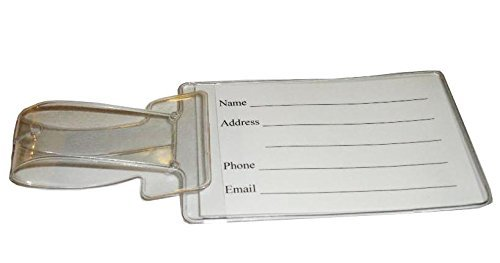 Clear Vinyl SMALL and LARGE Luggage Tags (Including Name Cards) with Travel W...