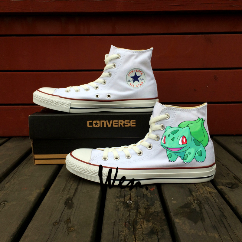 Pokemon Bulbasaur Frog Anime Design Converse All Star Hand Painted Shoes Child