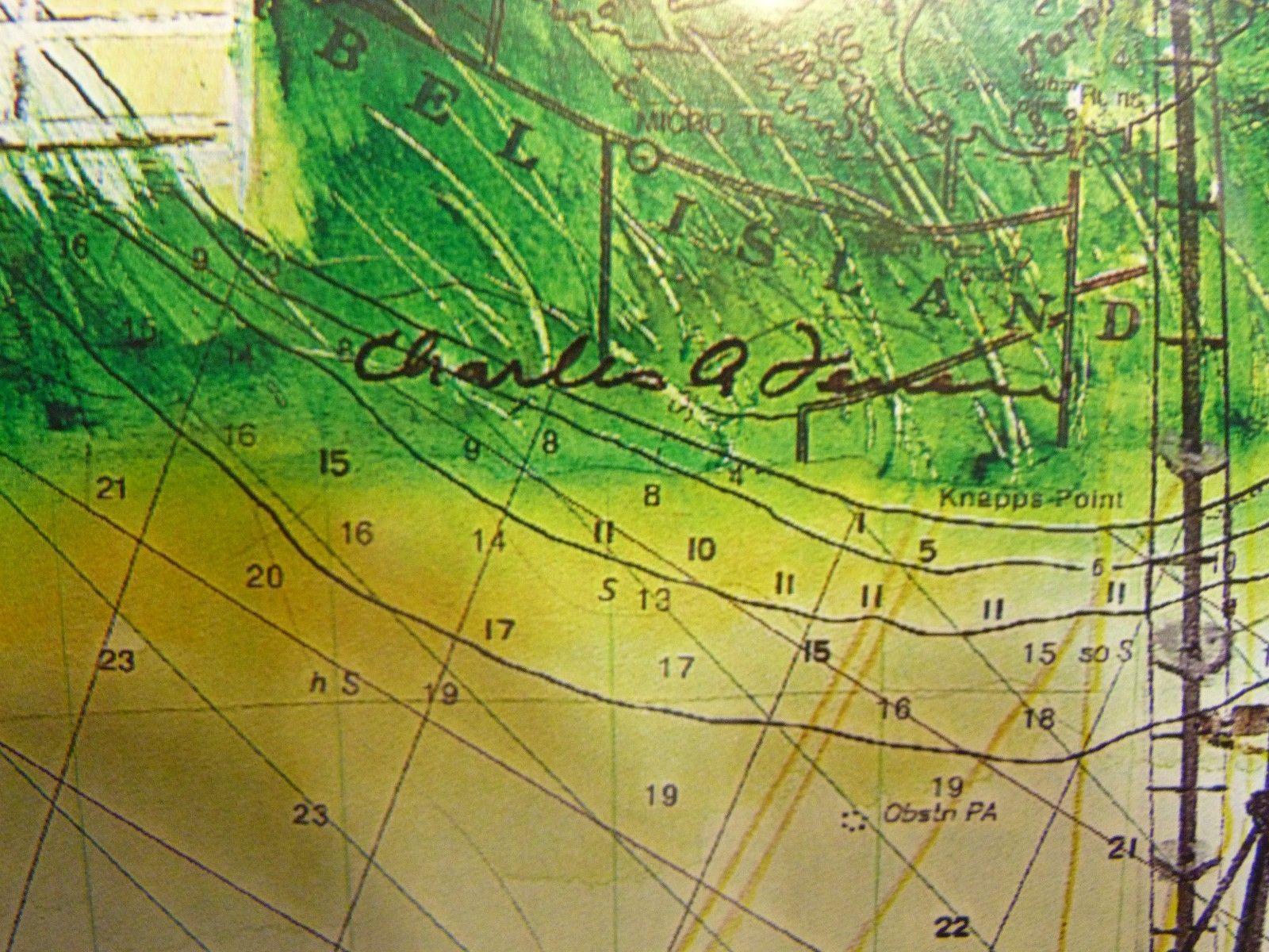 "18"" x 14"" Art Print of Sanibel Island Lighthouse, Fishing Boat & Map New"
