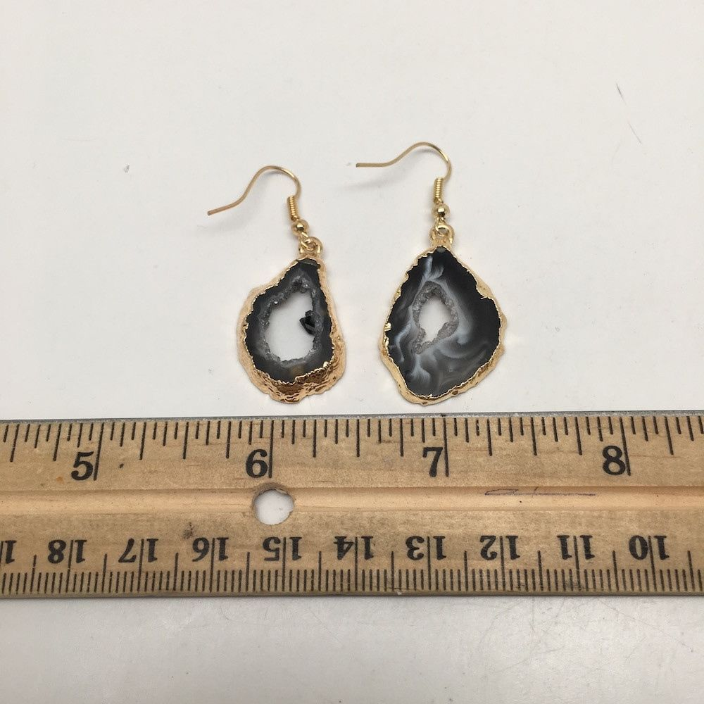 28 cts Agate Druzy Slice Geode Earring Electroplated Gold Plated @Brazil, C654