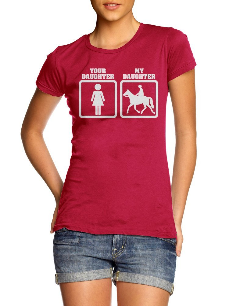 YOUR DAUGHTER MY DAUGHTER HORSEBACK RIDING L Red Girly Tee