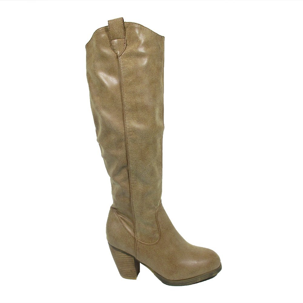 BLUE WOMENS MID CALF FASHION DRESS BOOTS Mooresy Beige Size 6