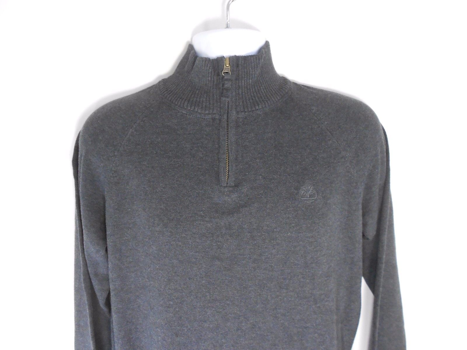 TIMBERLAND HALFZIP  MEN'S DARK GREY SWEATER SZ M, #6267J-013 $78.