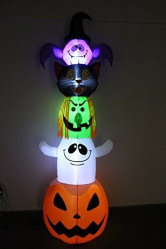 8 Foot Halloween Inflatable Stacked Bat, Black Cat, Witch, Ghost, And Pumpkin