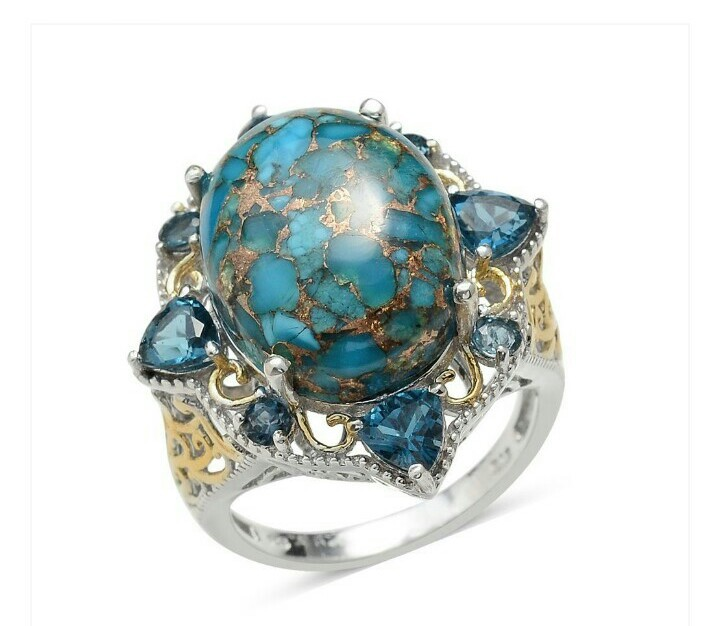 Turquoise and Blue Topaz 14K YG and Platinum Over Sterling Silver Ring