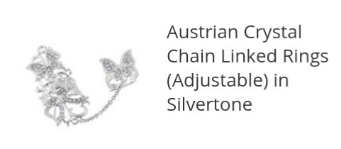 Australian Crystal Chain Linked Adjustable Sivertone Ring