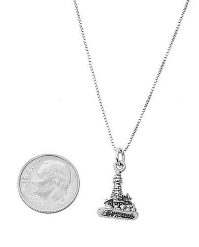 STERLING SILVER LIGHTHOUSE ON ISLAND CHARM WITH BOX CHAIN NECKLACE