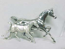 BEAU STERLING 2 HORSES Vintage BROOCH Pin - FREE SHIPPING - $75.00