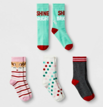 4 Pairs Cat & Jack Reindeer Toddler Girls Crew Socks Shoe Size Sm 5.5 - ... - $8.25