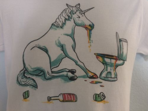 Unicorn Vomiting Rainbows Small T Shirt Hungover Whimsical Drinking Creature