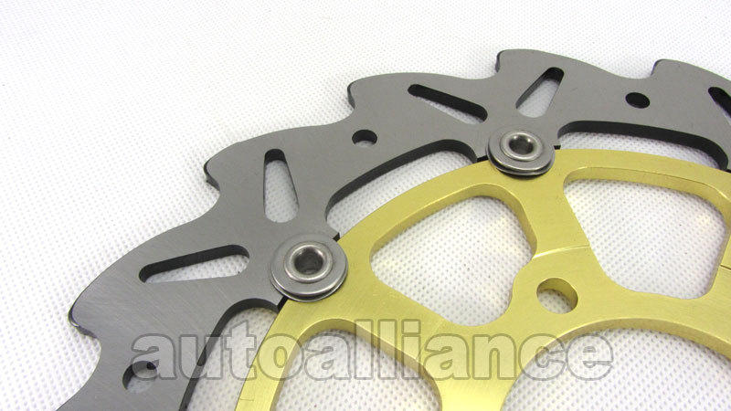 Gold Front Brake Disc Rotor Pad For Kawasaki ZX6R ZX6RR 05-06 ZX10R 04-07 Z750R