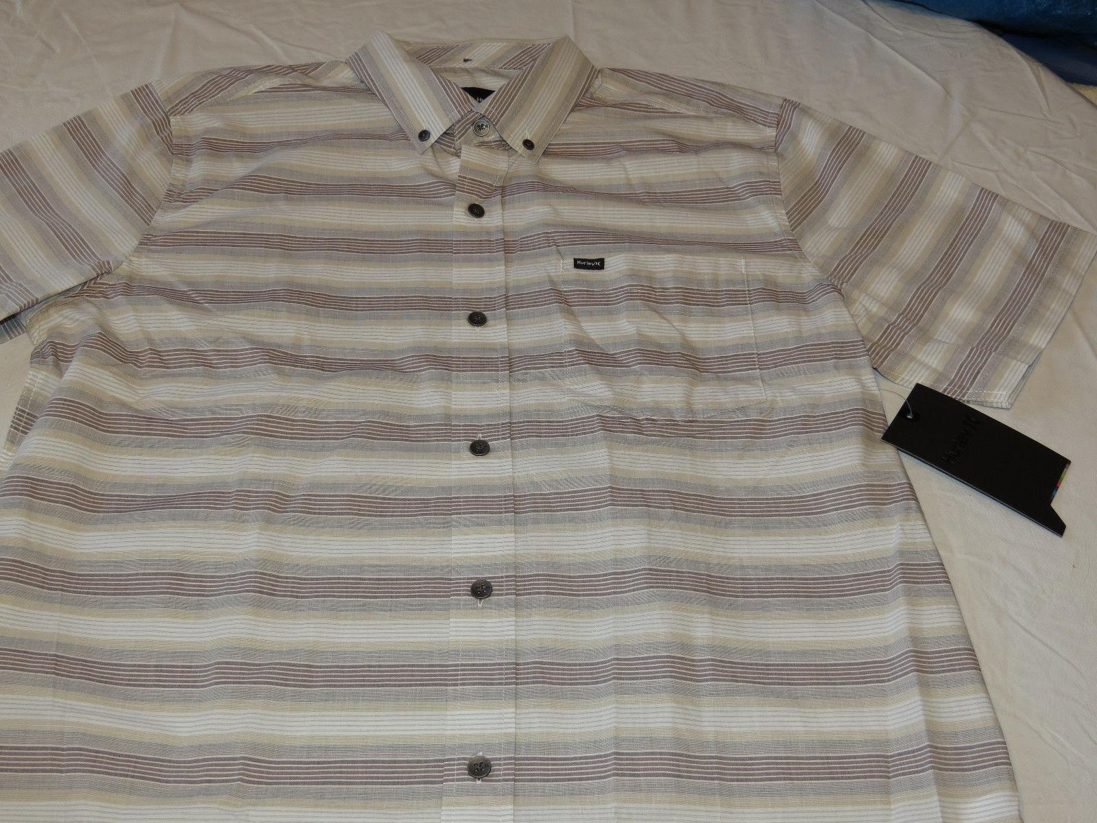 Mens Hurley short sleeve surf skate brand shirt button up L Void MVS0002900 24B