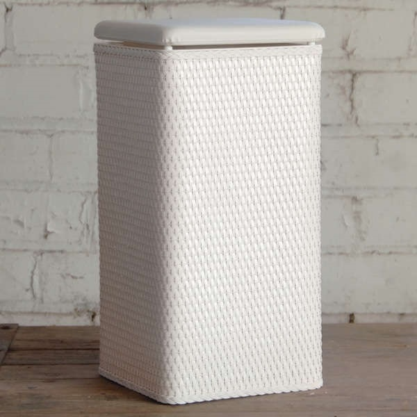 White Laundry Hamper With Lid Storage Clothes Organizer