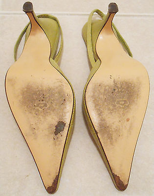 Delman green leather pointed toe ankle strap heels size 8