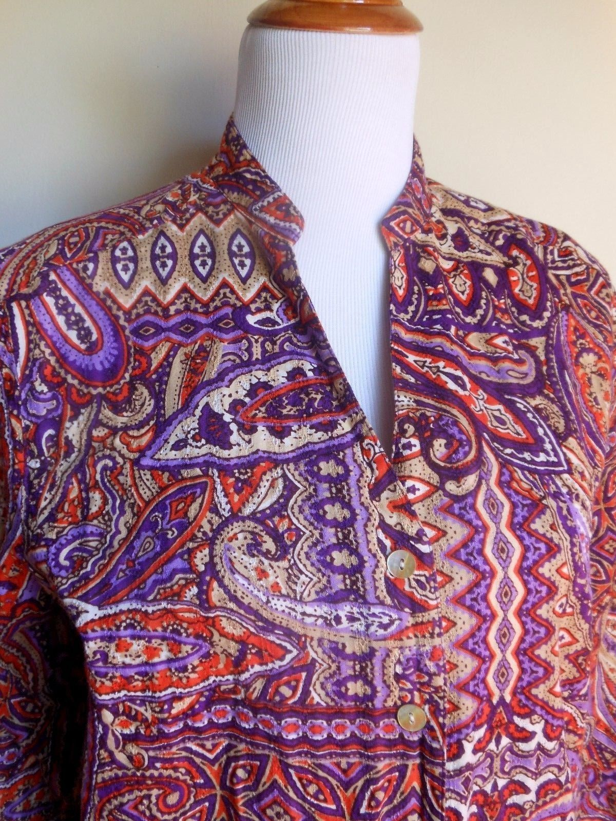 ALFRED DUNNER ~ 16 XL ORANGE PURPLE PAISLEY BUTTON DOWN BLOUSE TOP