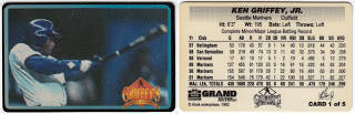 ken griffey jr seattle mariners 1992 alrak ace auto supply promotional cards