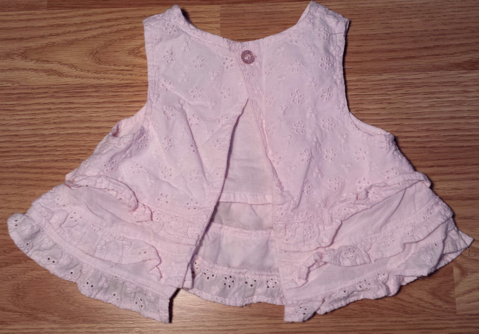 Girl's Size 6 M 3-6 Months 2 Pc Absorba Pink Eyelet Ruffled Flay Away Dress & DC